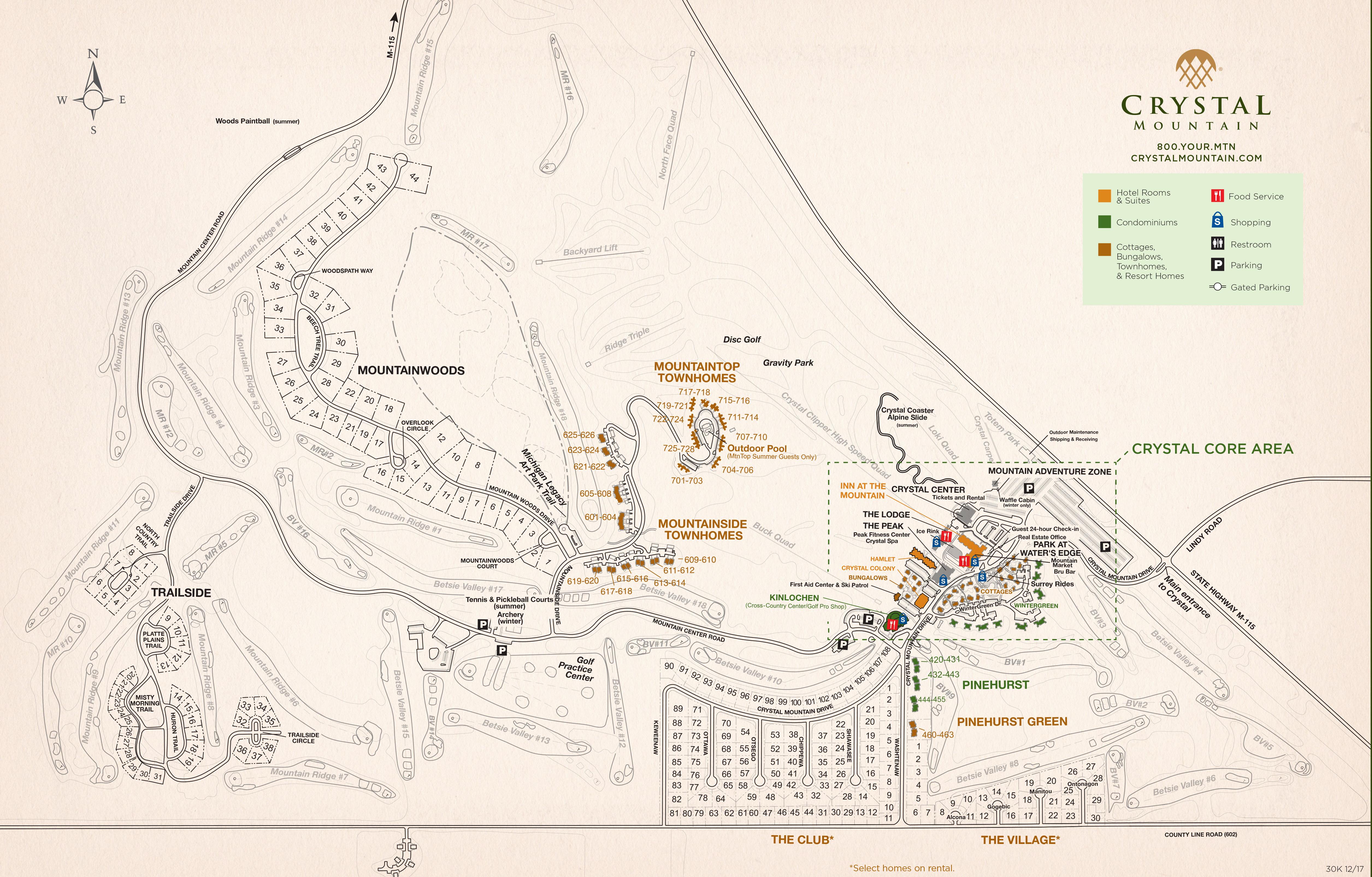 Ski Resort Michigan Map.Resort Maps Crystal Mountain Michigan