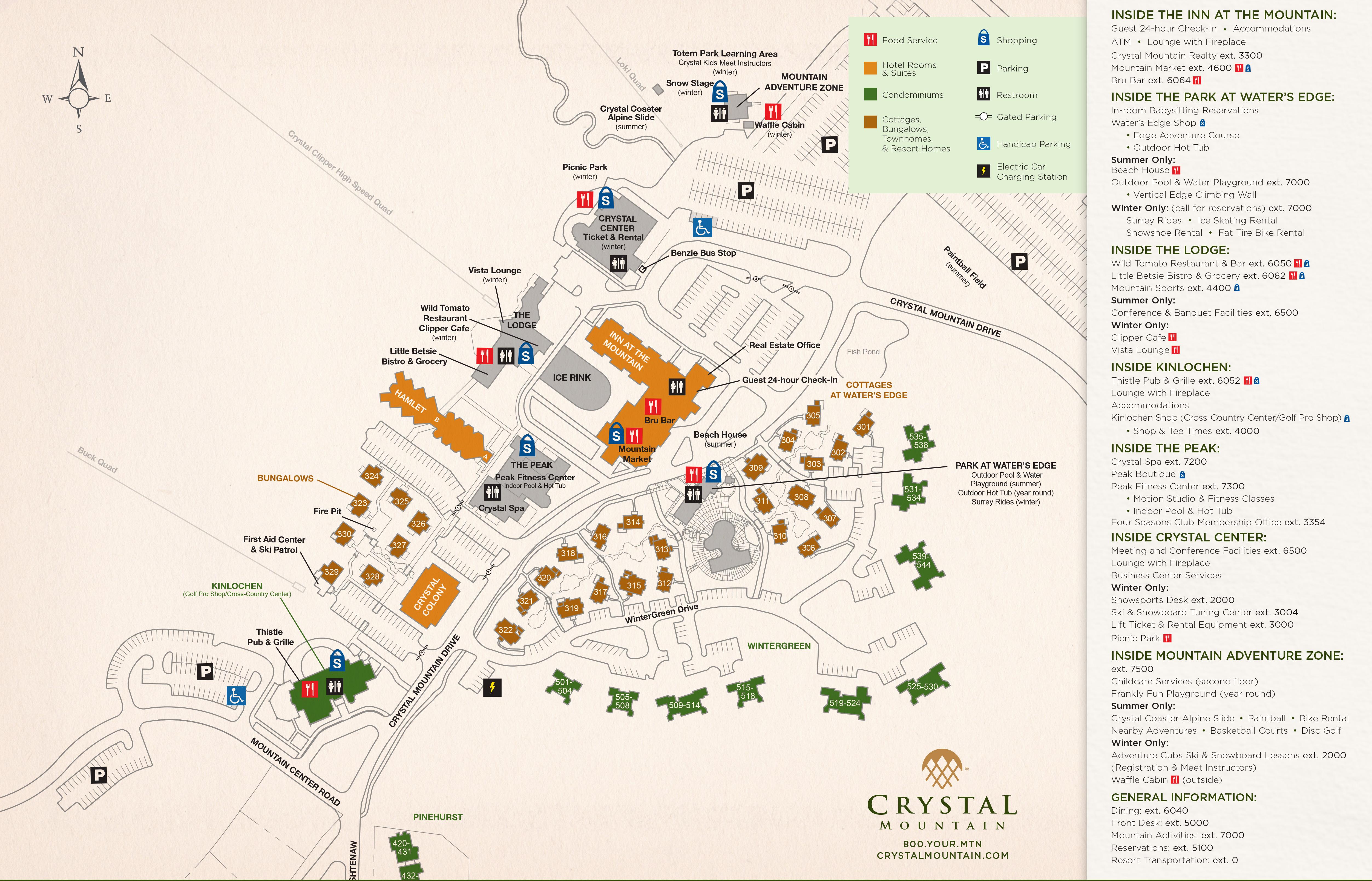 Resort Maps Crystal Mountain Michigan